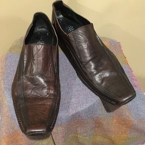 Rock & Republic Mens Leather Loafers Brown Size 13